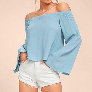 Lulu's | Gentle Stream Blue Off-the-Shoulder Top